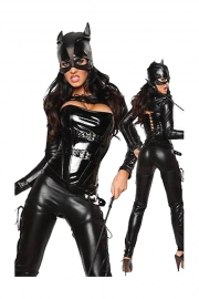 Fiesty and Hot Velvety Black Cat Woman Nice Tight Top Complemented With Glossy Longsleeve and Pants