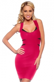 Glamorous Hot Pink Clubwear Bodycon Mini Dress With Black Slash Panel Detailing