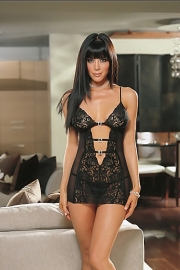 Black Lace Babydoll With Chiffon Sides and Bare Midriff With Toggle Straps