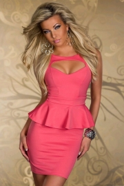 Salmon Color Sleeveless Mini Dress With Ruffled Waistline Trim and Cut-out Neckline