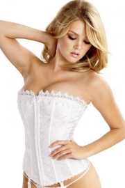 White Overbust Bridal Corset With Floral Pattern and Cord Lace Trim