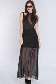 Sweet Innocence Elagant Long Dress with Mesh Overlay