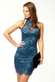 Enticing Blue Sleeveless Lace  Mini Dress with Mock Neck, Scalloped Hemline