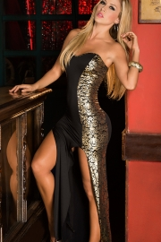 Clearance! Stunning Strapless Gown With Thigh High Thigh Splits And Metallic Detailing