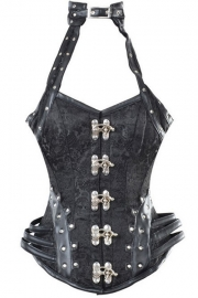Detailed Steampunk Corset in Black with Choker and Suspender Loops