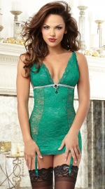 Sexy Gem Green Deep V-neck Floral Lace Chemise With Diamond Details and Garters