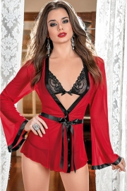 Sexy Women Red Mesh Long Sleeve Robe With Black Lace Bra and Thongs