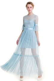 Sky Blue Lace Empire A-line Sweet Polka Dot Flared Sleeves Fairy Maxi Dress