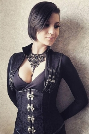 Black 12 Steel Boned Gothic Collared Top Brown Steampunk Corset Underbust Jacket Vest
