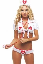 Plus Size White Angel Nurse Bra & Panties Temptation Lingerie Set