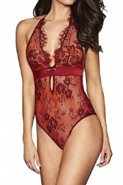 Plus Size Burgundy Lace Teddy Slutty Lingerie