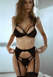 Black lace thin bra and garters set without stockings