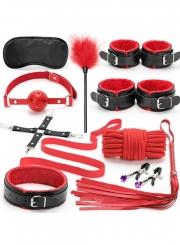 Black&Red 10PCS Neck Collar Hand Cuff Wrist Bondage Set Body BDSM Restraint Harness Slave Game