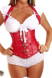 Fetish Red Faux-Leather Waist Training Corset With Halter Straps, Buckles Over Front Zipper and Studs