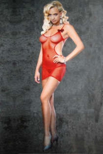 Short Red Fishnet Bodystocking Dress With Low Scoop Neck and Double Spaghetti Straps