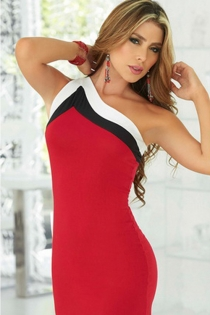 Fascinating Red Tight Body Fit Black White Right Shoulder Strap Skimpy Club Wear