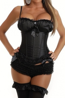 Black Twin Button Corset With Comfortable Bust, Black Lace and Ribbon Bows, and Removable Straps