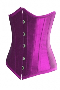 Essential Purple Satin Underbust Corset With Simmering Effect for Every Occasion, Front Busk
