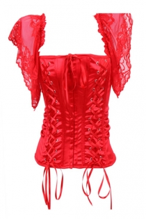 Fiery Red Satin Corset Top With Twin Lace-up Front Panels and Sheer Lace Flutter Sleeves