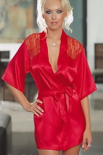 Fiery Red Satin Robe With Short Bell Sleeves and Shoulder-to-Back Lace