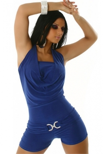 Blue Bodycon Halter Romper With Cowl Double Neckline and Golden Toggle Waist