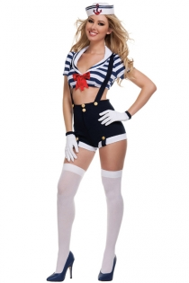 Playful Siren With White Royal Blue Stripes Hanging Top and Tight Dark Blue Short Halter Strap