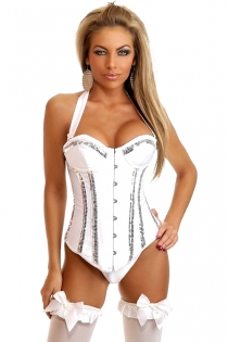 White Satin Halter Corset With Silver Sequin Strips on Body and Bust and Underwired Cups, Front Busk