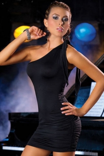 Essential Black Mini Dress for Clubbing With One-shoulder Tie and Ruched Sides