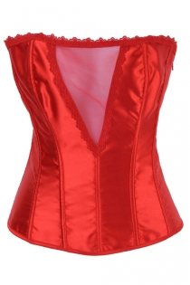 Red Satin Boned Overbust Corset With Red Lace Trim, Red Sheer Bust Panel, and Satin Ribbon Lace-up Back