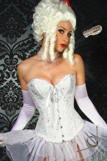 White Victorian Corset Dress With Brocade Pattern, Ruched Trim and Trimmed Tulle Skirt, Front Busk