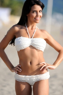 White Halter Bikini With Ruffled Bandeau Top and Matching Brazilian Bottom
