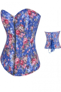 Spring-Time Blue Denim Corset With Retro Rose Flower Pattern, Front Zipper