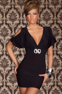Black Bodycon Dress With V Neck, Slashed Flutter Sleeves and Midriff Silver Accessory