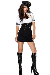 Sophisticated Lady in Uniform Exquisite Neat Arm Length Half Blouse Black Round Arm Lines Mini Black Skirt Below Cup Belt