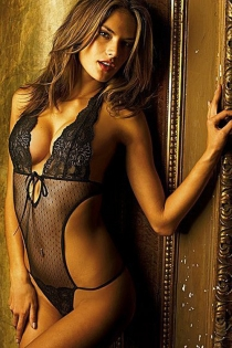 Black Thong Teddy With Lacy Halter Neck and Crotch, Sheer Polka Dot Bodice and Cut-out Sides