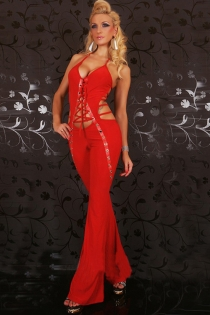 Flirtatious Red String Halter Plunging Top Enticing Crisscrossed Cut Body Sequence Interlinks Smooth Long Pants