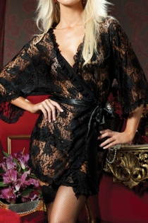 Black Paisley Lace Sheer Robe With Ruffle Trim and Wide Ribbon Belt