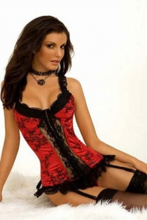 Soft Red Corset With Black Floral Print, Sheer Lace Front Panel and Trim, Ruffled Straps