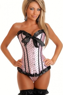 Playful Powder Pink Satin Corset With Black Polka Dots, Ruched Ribbon Trim and Center Bow, Front Busk
