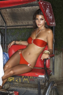 Solid Red Strapless Bikini Swimsuit With Bandeau Style Top and Gold Chain Detail on Bust and Waistline