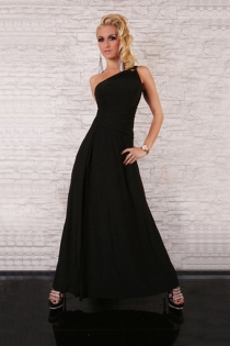 Simply Elegant Dark Long Gown With Attractive Left Shoulder Strap and Fine Wrinkled Waist