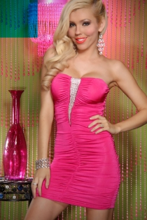 Hot Pink Strapless Mini Dress With Triangle Rhinestone Bust Detail and Ruched Bodice