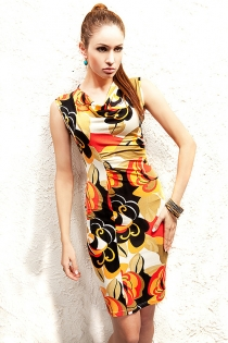 Colorful Floral Prints Black Yellow Orange Cream Fusion Cow Top Finely Pleated Body Side