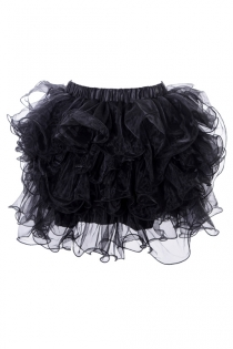Alluring Black Mini Skirt Nicely Layered Lace Ruffles Overlaying Tight Fit Skimpy Skirt