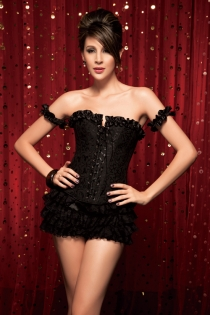 Black Steel Boned Corset Top With Brocade Pattern, Ruched Satin Sleeves and Ribbon Bows, Front Busk