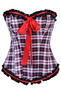 Black, White, and Red Plaid Corset With Black Ruffled Satin Trim, Red Bow Accent, and Lace-up Back