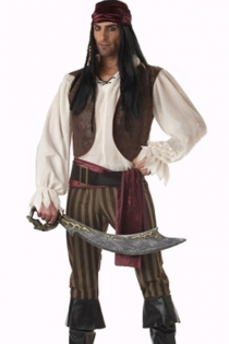 Captain Hook Inspired Outfit With Nice Sheer White Longsleeve Brownish and Red Rose Top and Lower Sequence