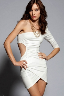 Solid White Long Sleeve One-Shoulder Mini Club Dress With Wrap-style Front and Circular Cut-out Side