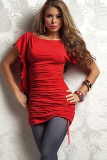 Reversible Red Mini Dress With Ruched Bodice and Flutter Sleeves With Ruffle Fringe Side