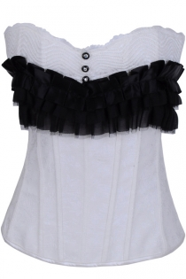 White Corset With Black Pearl Buttons, White Wavey Bust Stitching and Black Satin Ruffles
